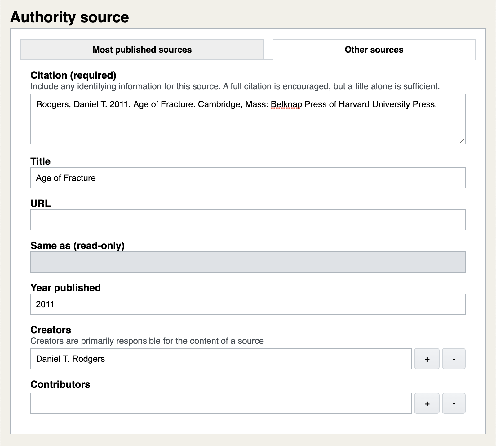 Manually entering citable information about an authority