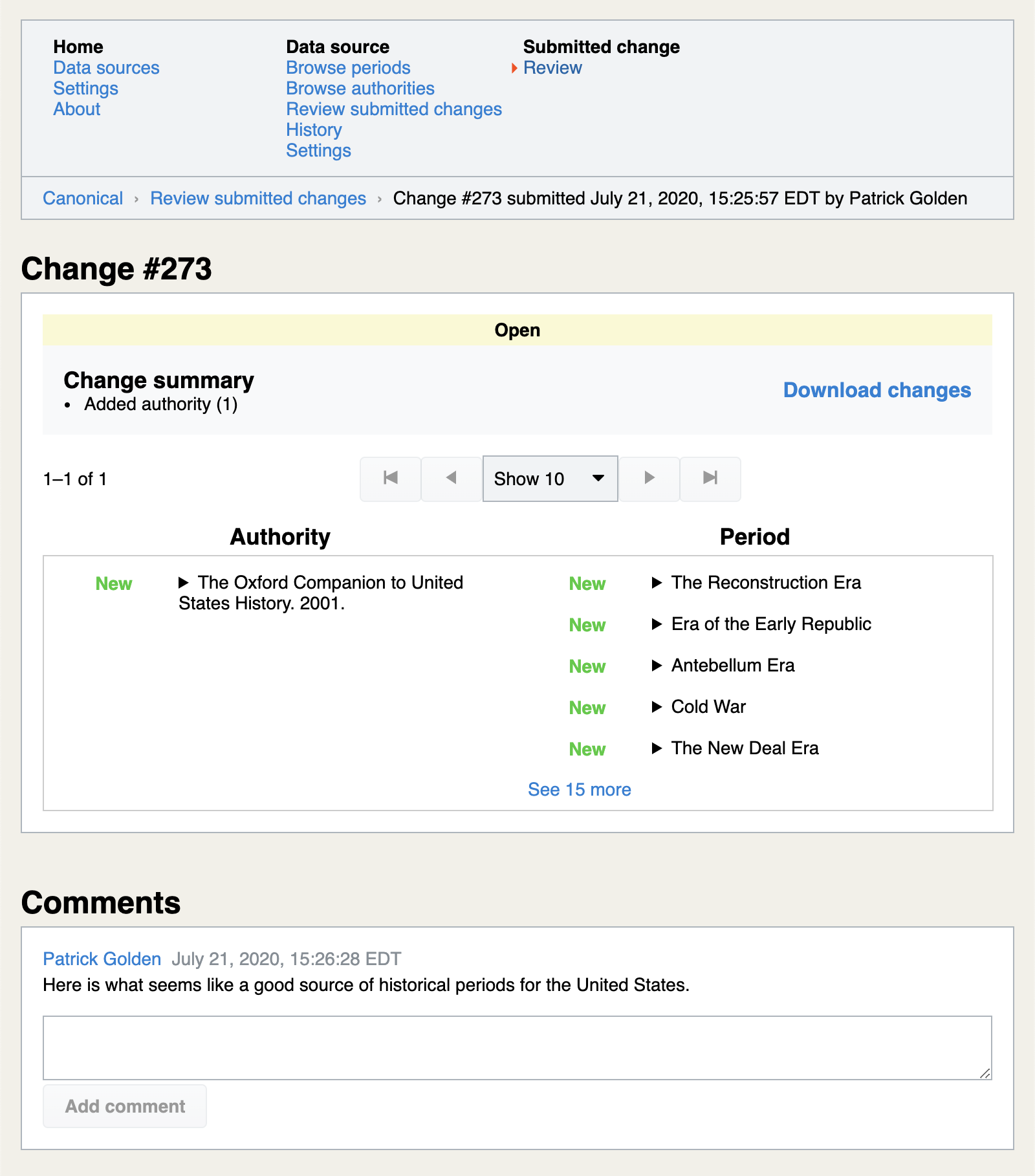 Viewing comments on submitted changes to the canonical periods