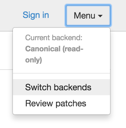 Switching backends via the menu.